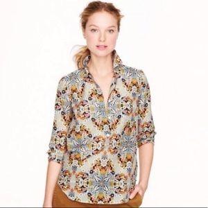 Jcrew boho floral silk blend popover shirt EUC, xs